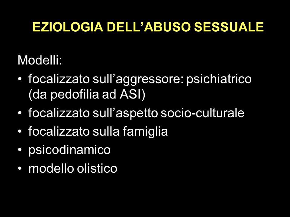 EZIOLOGIA DELL'ABUSO SESSUALE
