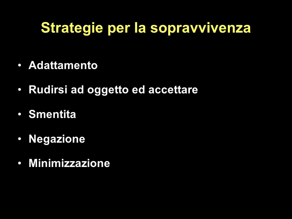 Strategie per la sopravvivenza