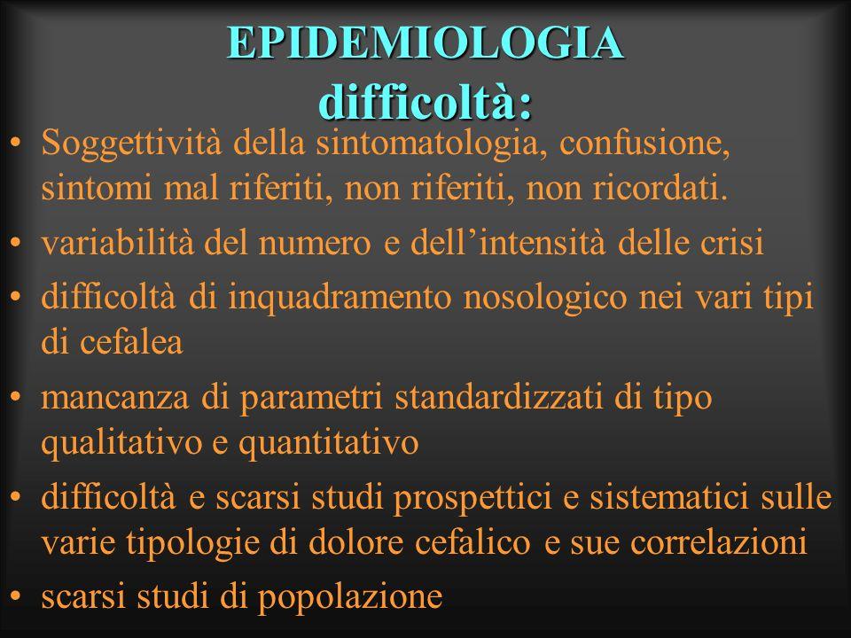 EPIDEMIOLOGIA difficoltà: