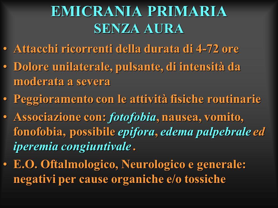 EMICRANIA PRIMARIA SENZA AURA