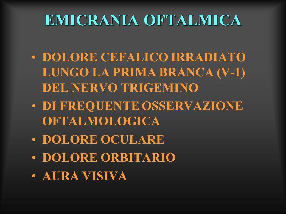 EMICRANIA OFTALMICA DOLORE CEFALICO IRRADIATO LUNGO LA PRIMA BRANCA (V-1) DEL NERVO TRIGEMINO. DI FREQUENTE OSSERVAZIONE OFTALMOLOGICA.