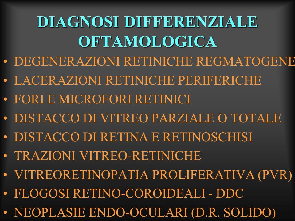 DIAGNOSI DIFFERENZIALE OFTAMOLOGICA