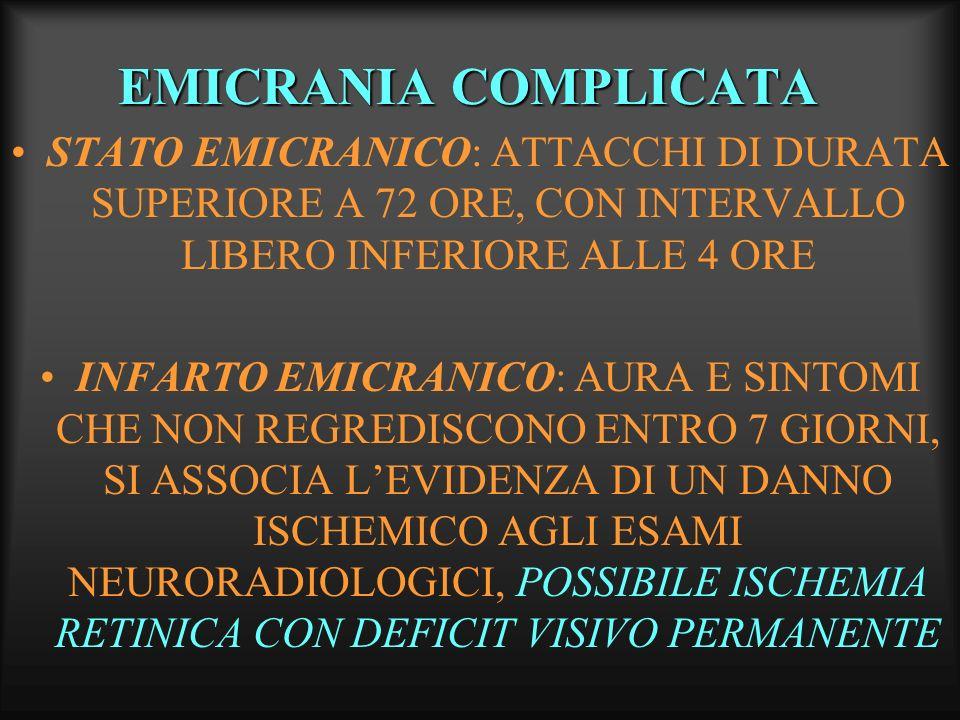 EMICRANIA COMPLICATA STATO EMICRANICO: ATTACCHI DI DURATA SUPERIORE A 72 ORE, CON INTERVALLO LIBERO INFERIORE ALLE 4 ORE.