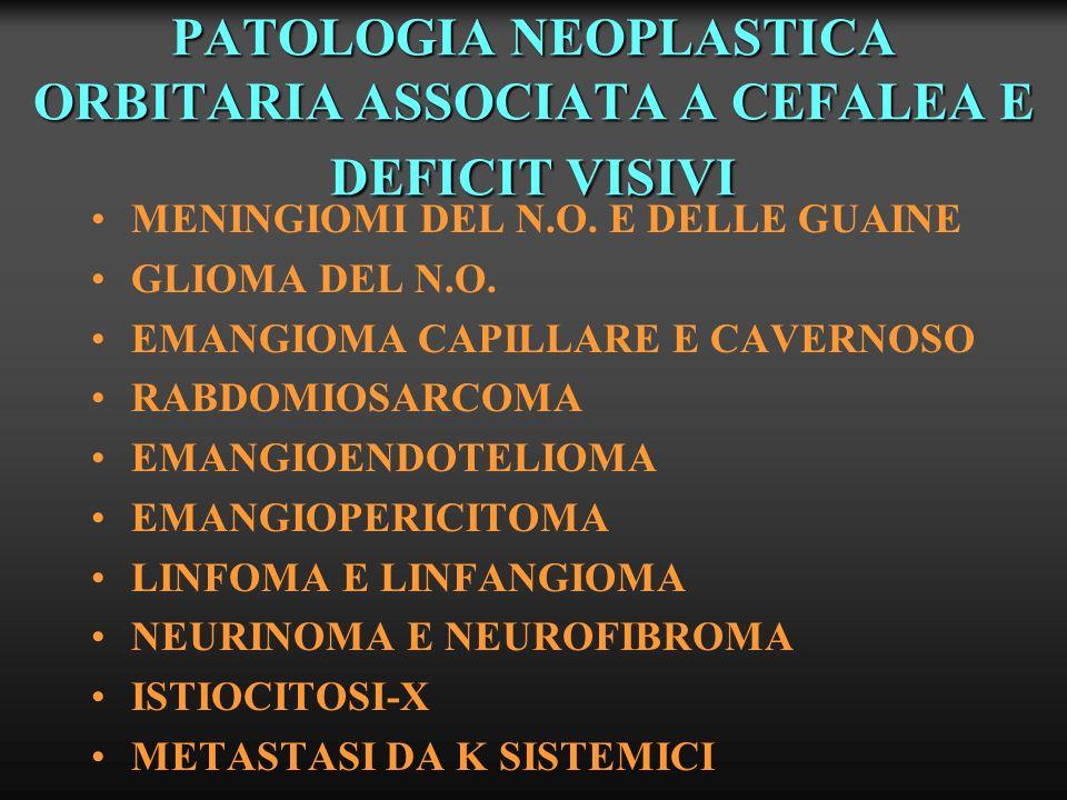 PATOLOGIA NEOPLASTICA ORBITARIA ASSOCIATA A CEFALEA E DEFICIT VISIVI