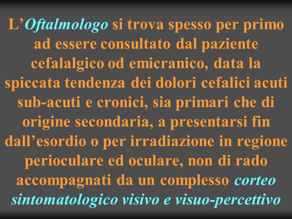 L'Oftalmologo si trova spesso per primo ad essere consultato dal paziente cefalalgico od emicranico, data la spiccata tendenza dei dolori cefalici acuti sub-acuti e cronici, sia primari che di origine secondaria, a presentarsi fin dall'esordio o per irradiazione in regione perioculare ed oculare, non di rado accompagnati da un complesso corteo sintomatologico visivo e visuo-percettivo
