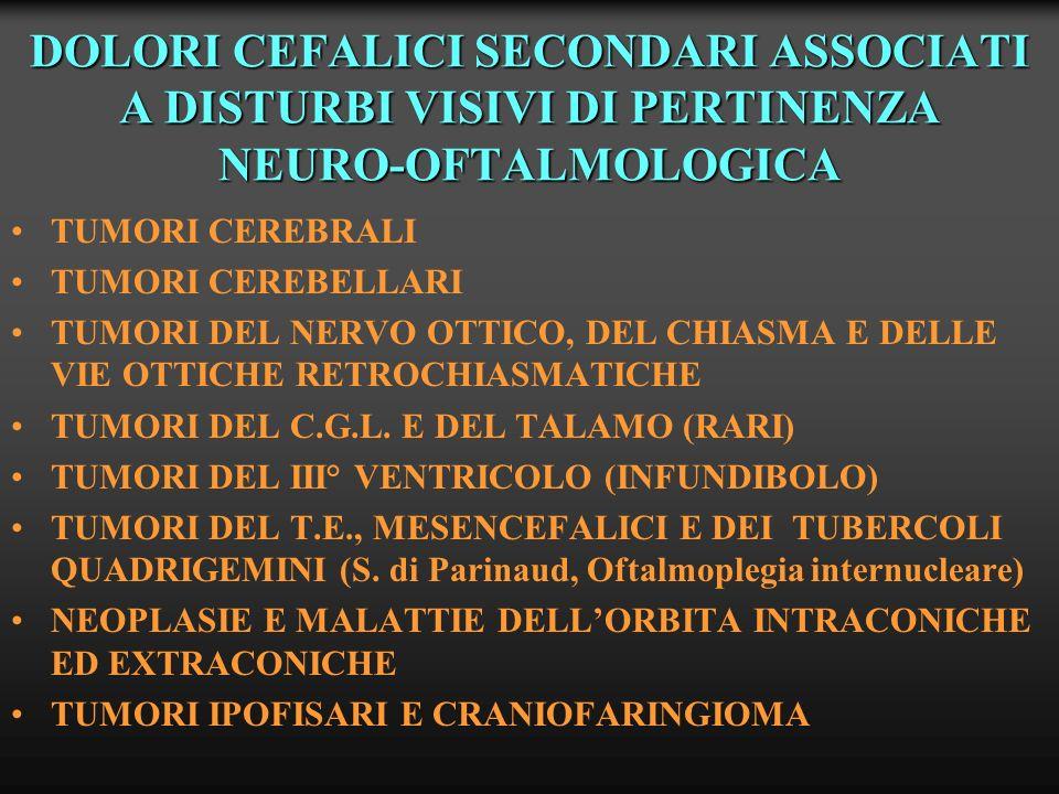 DOLORI CEFALICI SECONDARI ASSOCIATI A DISTURBI VISIVI DI PERTINENZA NEURO-OFTALMOLOGICA