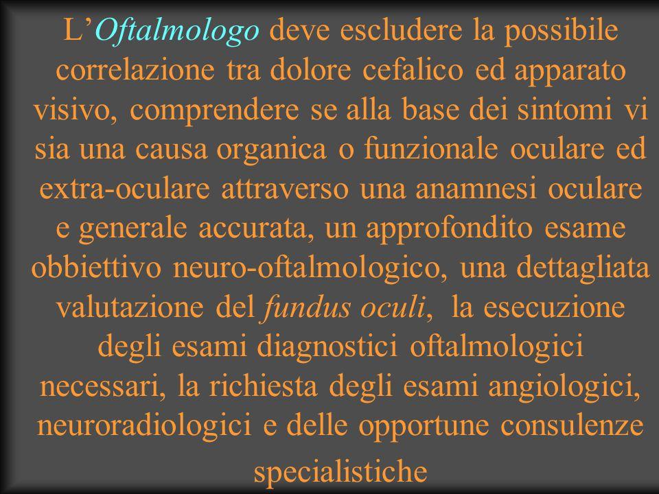 L'Oftalmologo deve escludere la possibile correlazione tra dolore cefalico ed apparato visivo, comprendere se alla base dei sintomi vi sia una causa organica o funzionale oculare ed extra-oculare attraverso una anamnesi oculare e generale accurata, un approfondito esame obbiettivo neuro-oftalmologico, una dettagliata valutazione del fundus oculi, la esecuzione degli esami diagnostici oftalmologici necessari, la richiesta degli esami angiologici, neuroradiologici e delle opportune consulenze specialistiche
