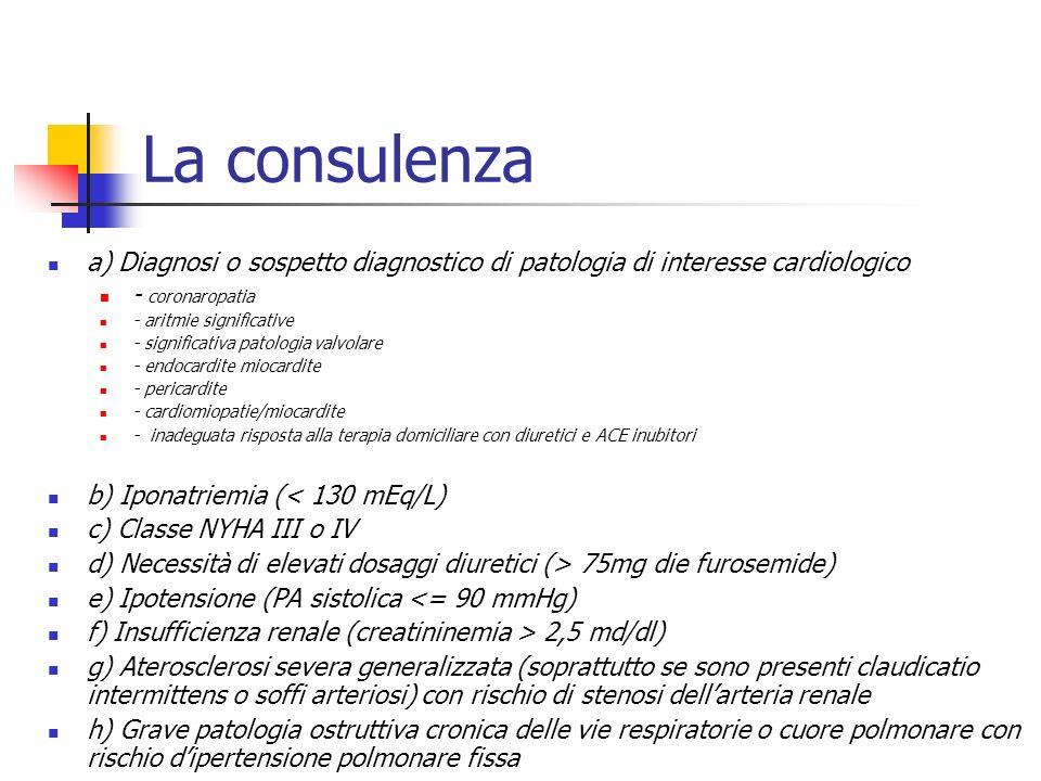 La consulenza a) Diagnosi o sospetto diagnostico di patologia di interesse cardiologico. - coronaropatia.