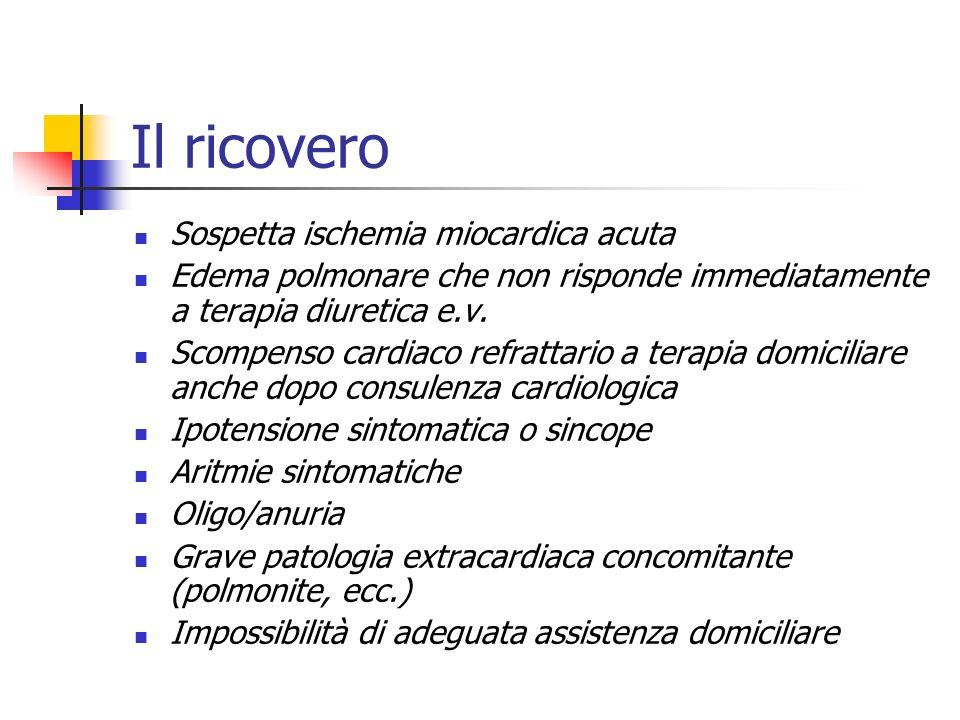 Il ricovero Sospetta ischemia miocardica acuta