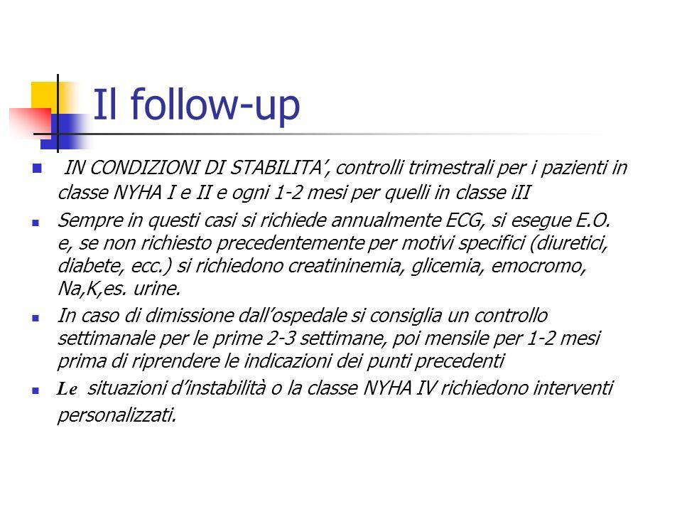 Il follow-up IN CONDIZIONI DI STABILITA', controlli trimestrali per i pazienti in classe NYHA I e II e ogni 1-2 mesi per quelli in classe iII