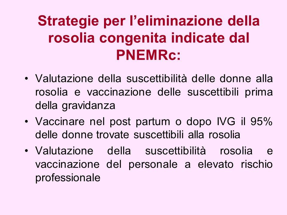 Strategie per l'eliminazione della rosolia congenita indicate dal PNEMRc: