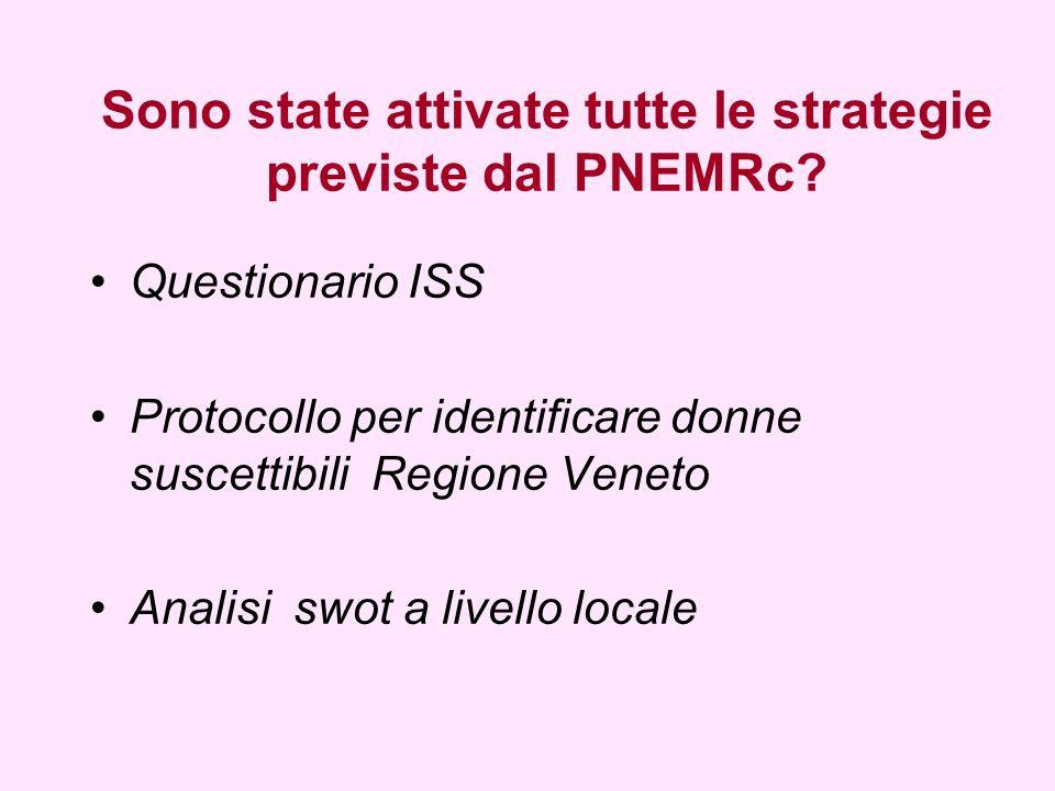 Sono state attivate tutte le strategie previste dal PNEMRc