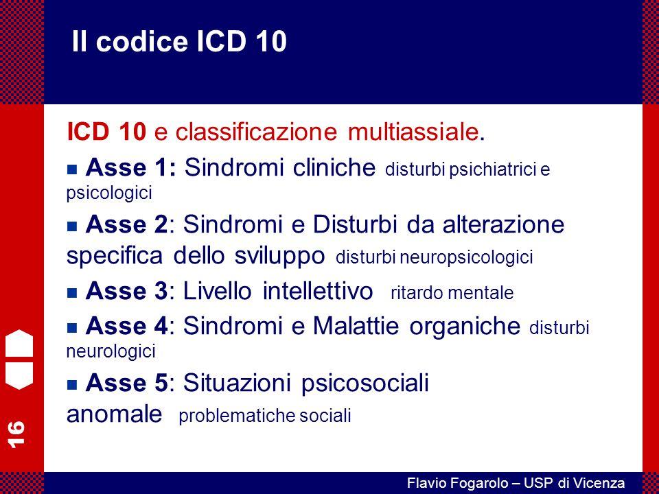 Il codice ICD 10 ICD 10 e classificazione multiassiale.