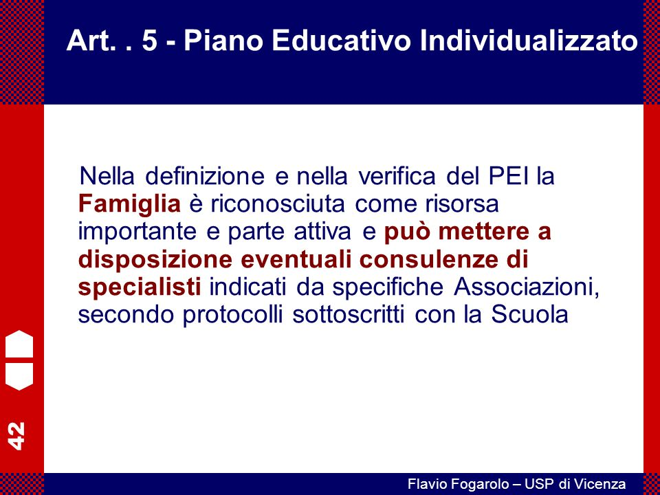 Art. . 5 - Piano Educativo Individualizzato