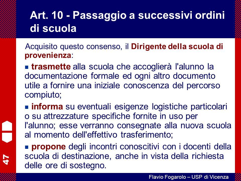 Art. 10 - Passaggio a successivi ordini di scuola