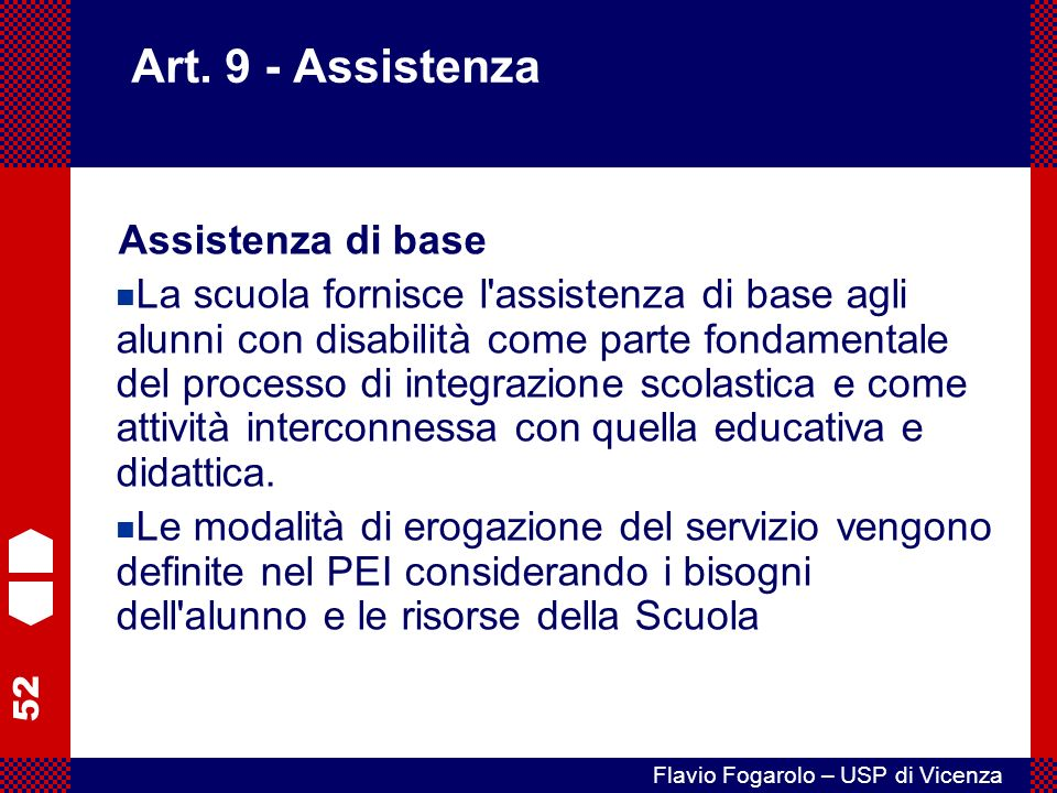 Art. 9 - Assistenza Assistenza di base