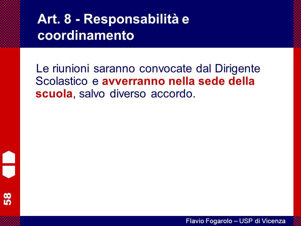 Art. 8 - Responsabilità e coordinamento