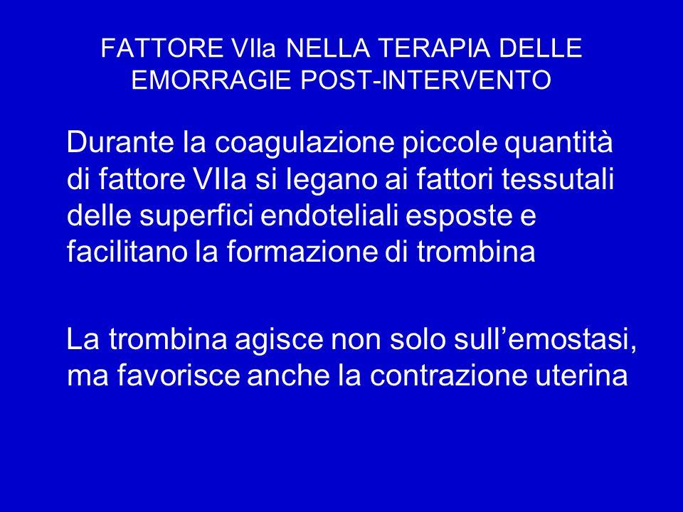 FATTORE VIIa NELLA TERAPIA DELLE EMORRAGIE POST-INTERVENTO