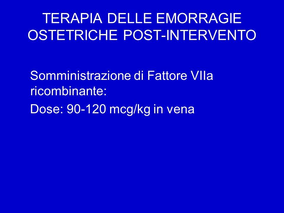 TERAPIA DELLE EMORRAGIE OSTETRICHE POST-INTERVENTO