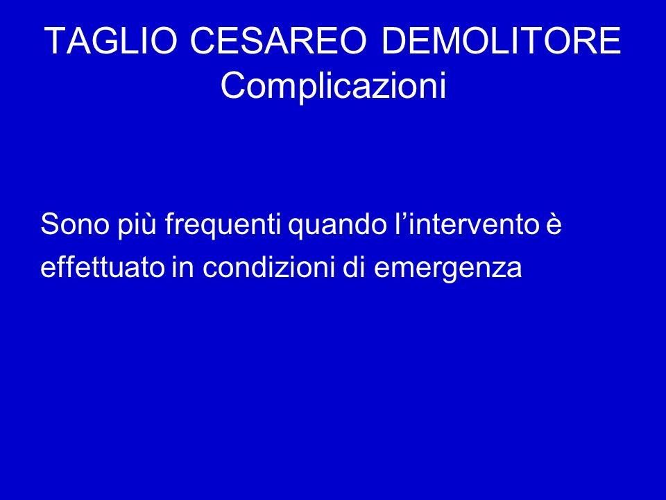 TAGLIO CESAREO DEMOLITORE Complicazioni