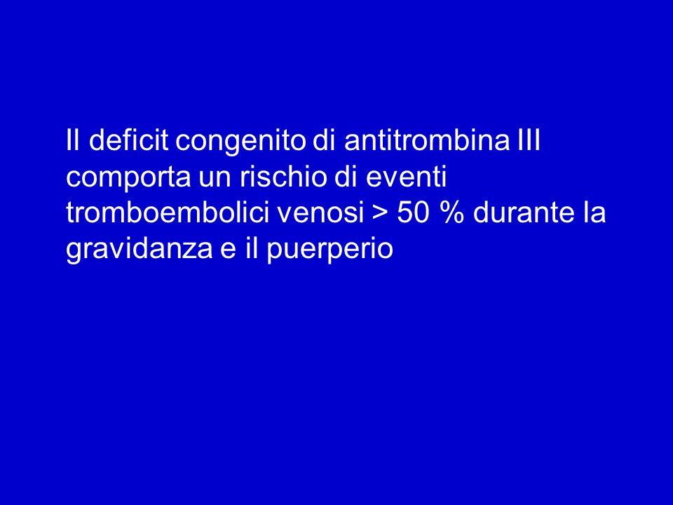 Il deficit congenito di antitrombina III comporta un rischio di eventi tromboembolici venosi > 50 % durante la gravidanza e il puerperio