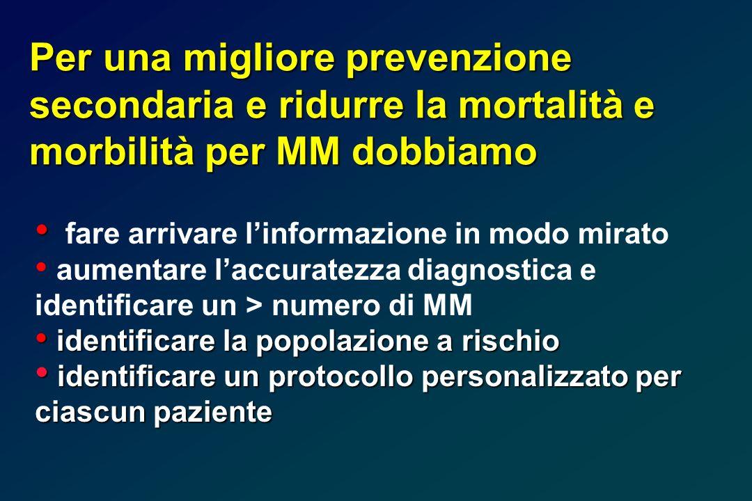 Per una migliore prevenzione secondaria e ridurre la mortalità e morbilità per MM dobbiamo