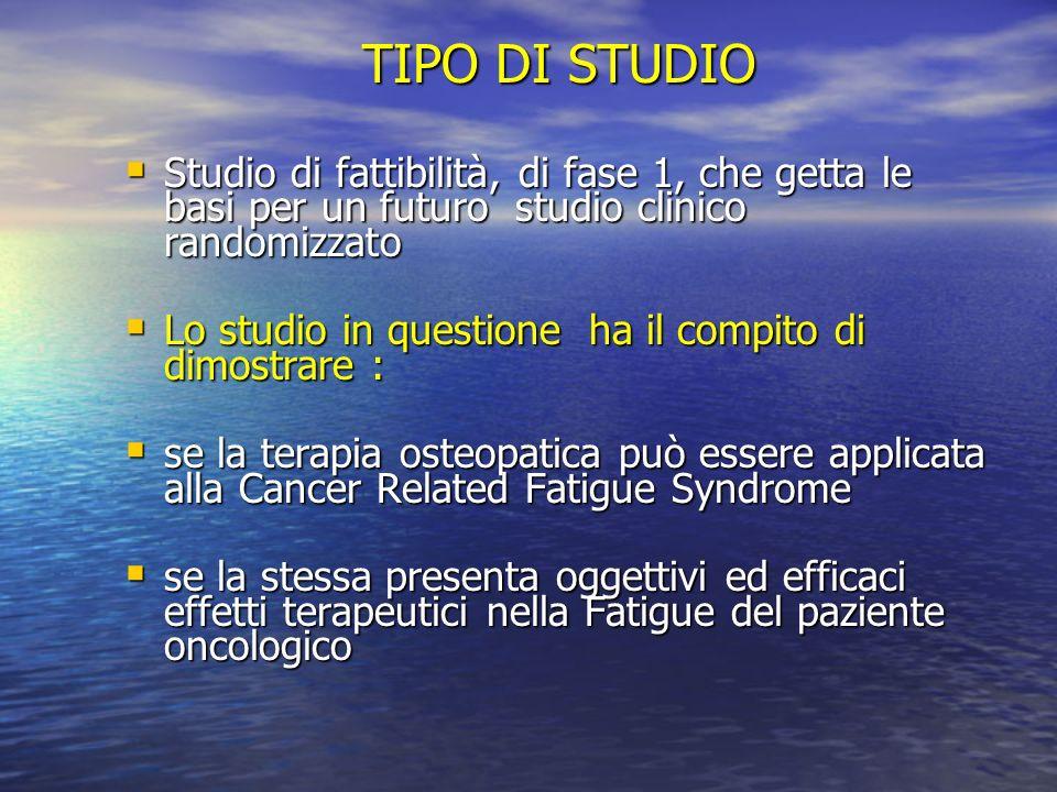 TIPO DI STUDIO Studio di fattibilità, di fase 1, che getta le basi per un futuro studio clinico randomizzato.