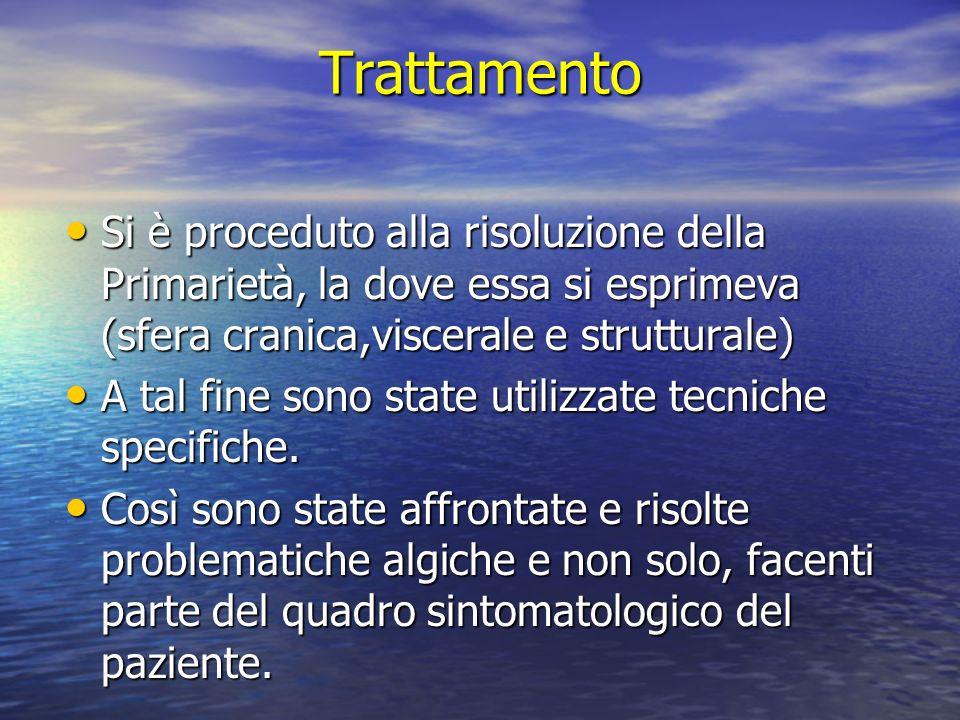 Trattamento Si è proceduto alla risoluzione della Primarietà, la dove essa si esprimeva (sfera cranica,viscerale e strutturale)