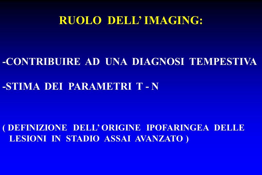 RUOLO DELL' IMAGING: -CONTRIBUIRE AD UNA DIAGNOSI TEMPESTIVA