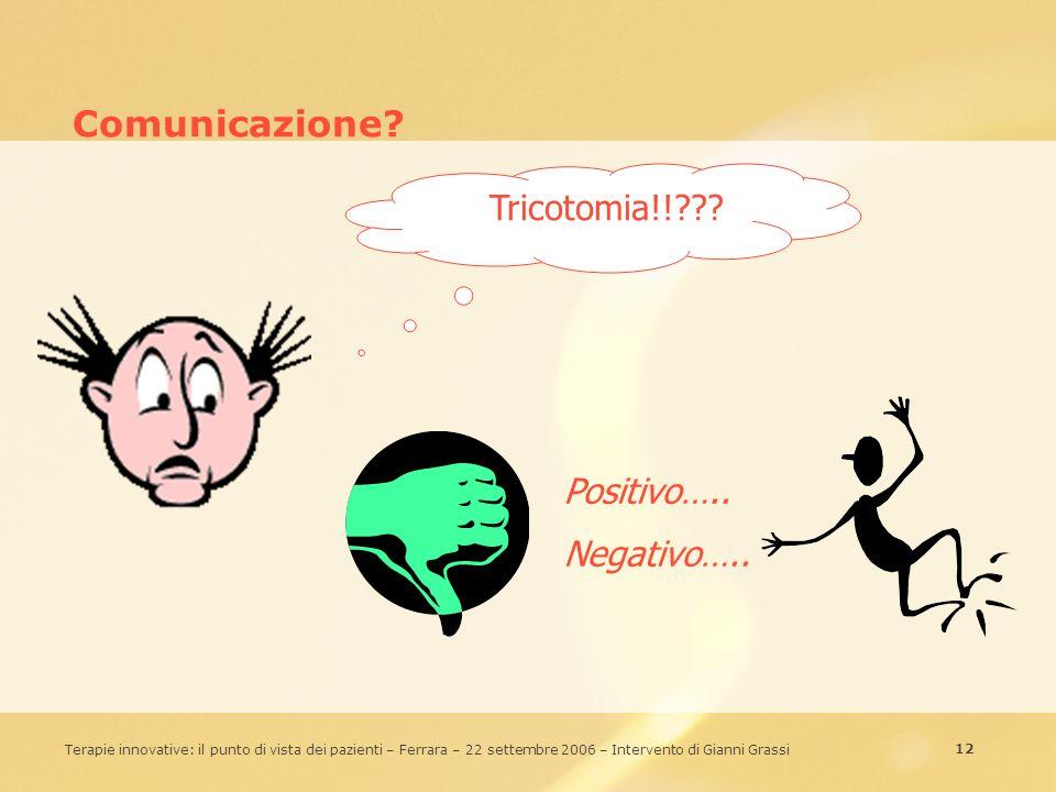 Comunicazione Tricotomia!! Positivo….. Negativo…..