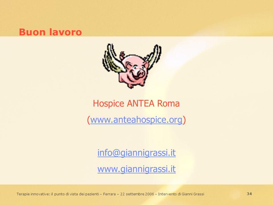 Buon lavoro Hospice ANTEA Roma (www.anteahospice.org)