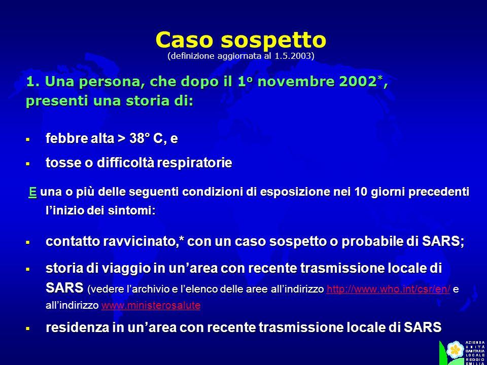 Caso sospetto (definizione aggiornata al 1.5.2003)