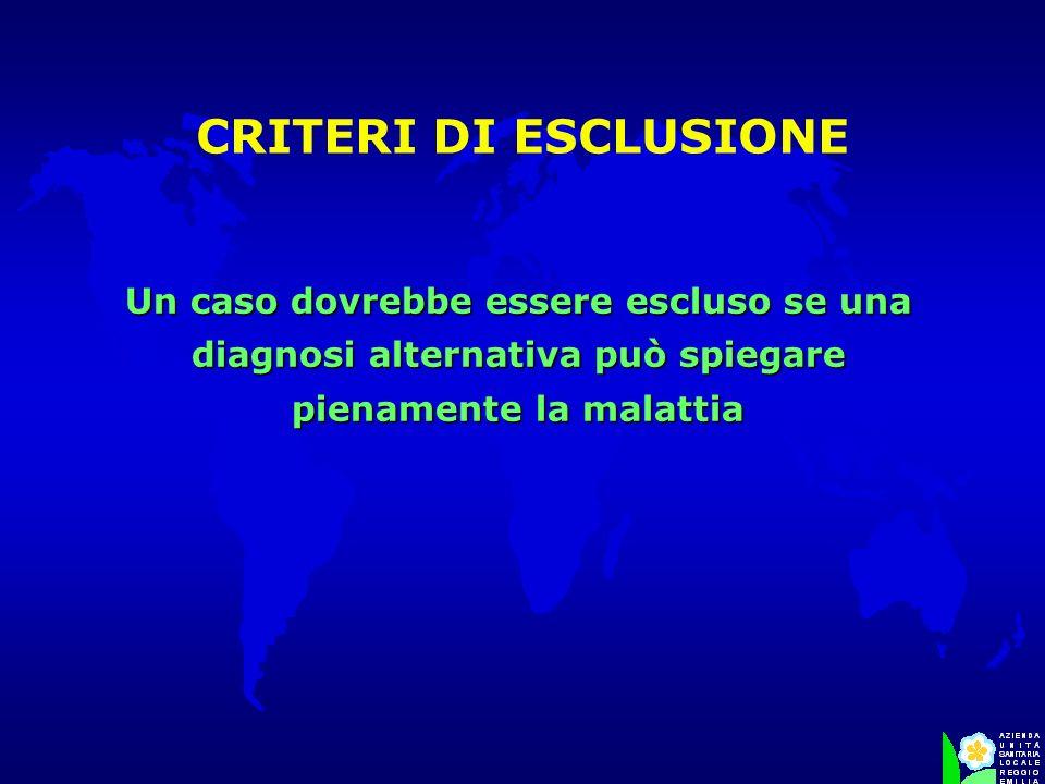 CRITERI DI ESCLUSIONE Un caso dovrebbe essere escluso se una diagnosi alternativa può spiegare pienamente la malattia.