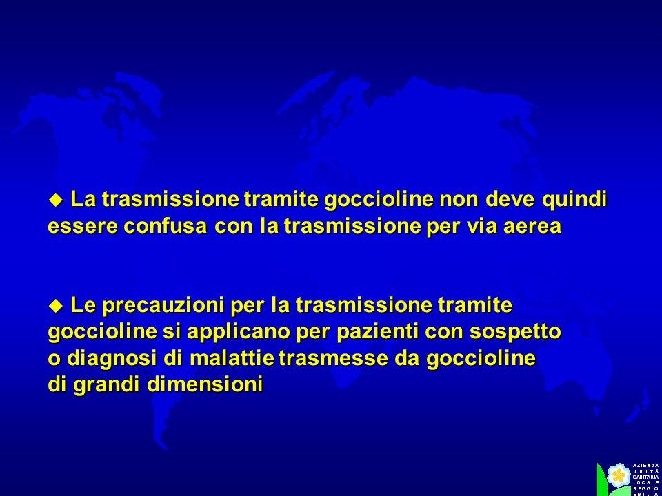 La trasmissione tramite goccioline non deve quindi essere confusa con la trasmissione per via aerea