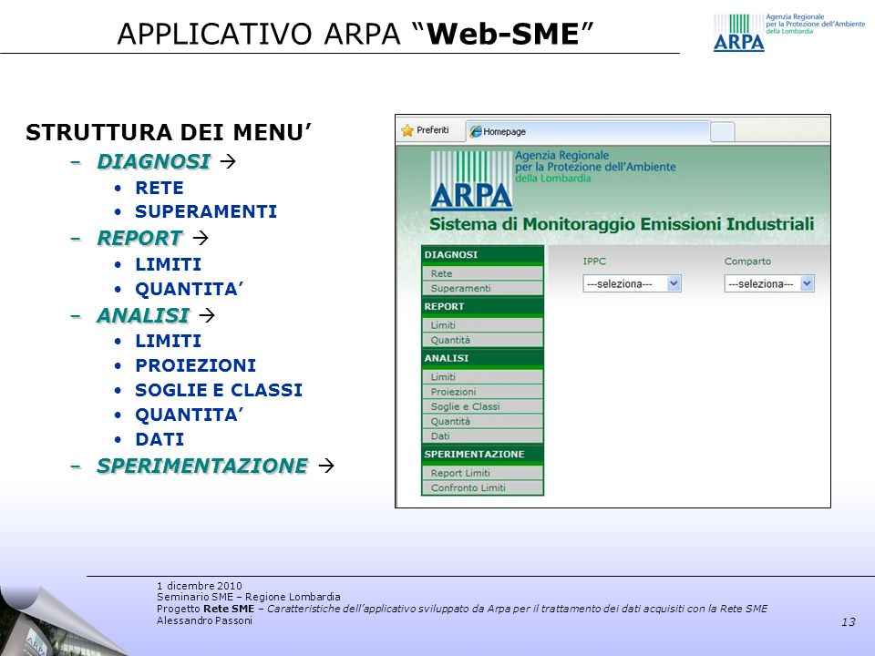 APPLICATIVO ARPA Web-SME