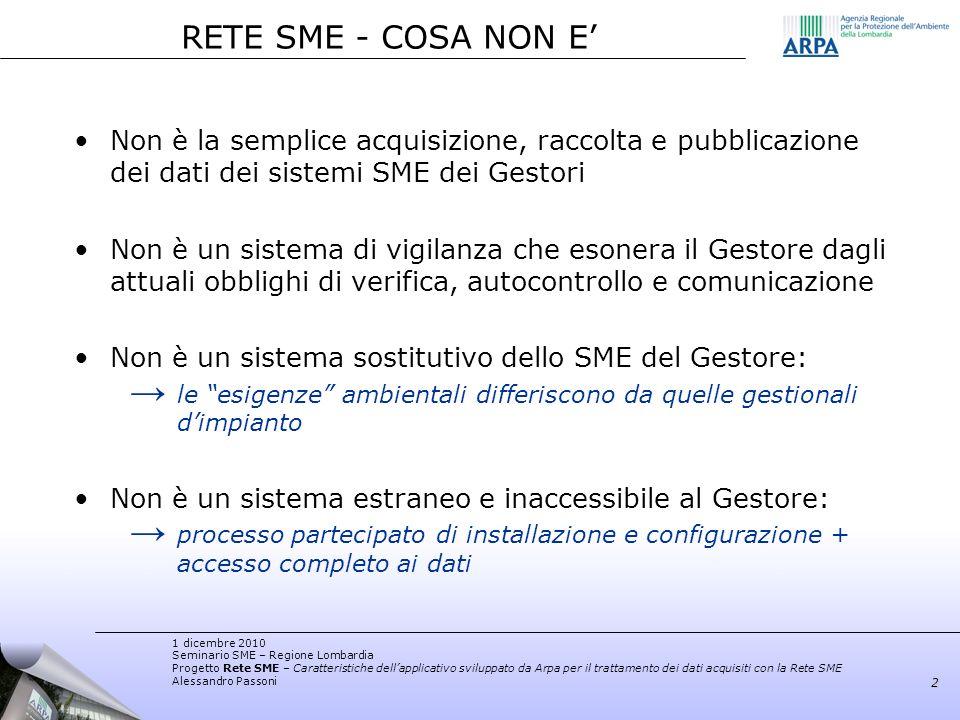 RETE SME - COSA NON E' Non è la semplice acquisizione, raccolta e pubblicazione dei dati dei sistemi SME dei Gestori.