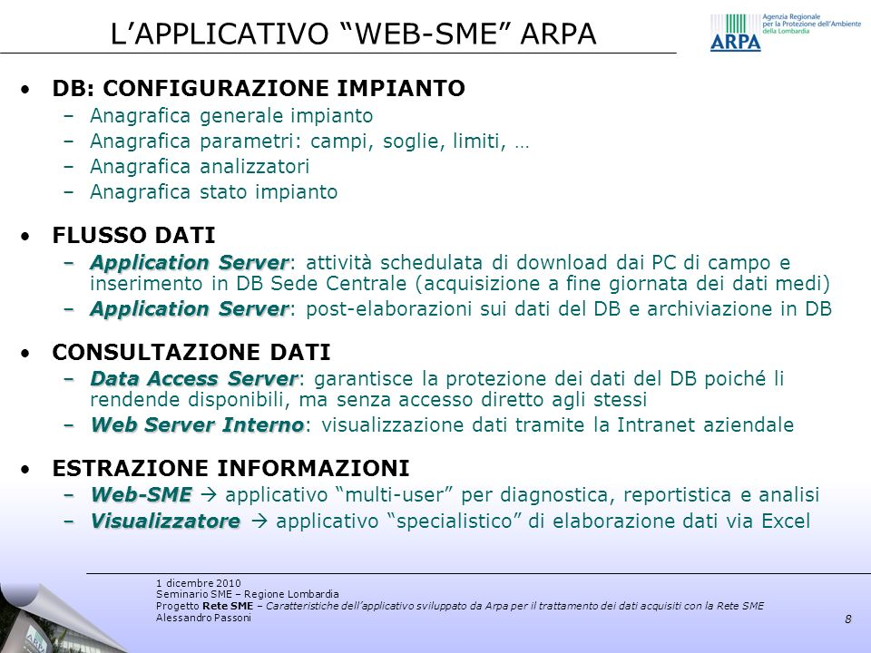 L'APPLICATIVO WEB-SME ARPA