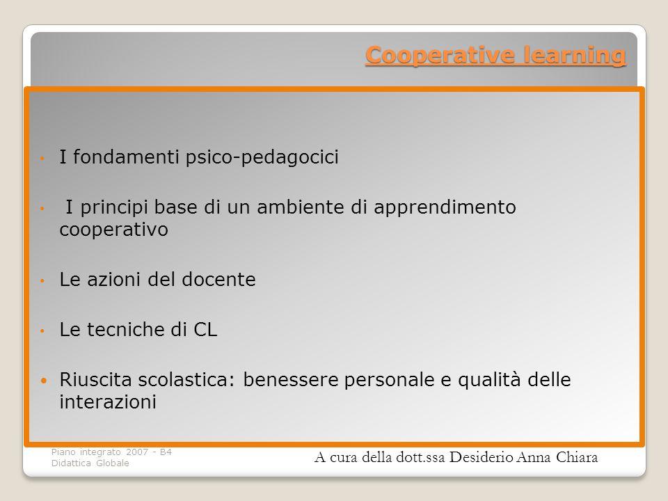 Cooperative learning I fondamenti psico-pedagocici