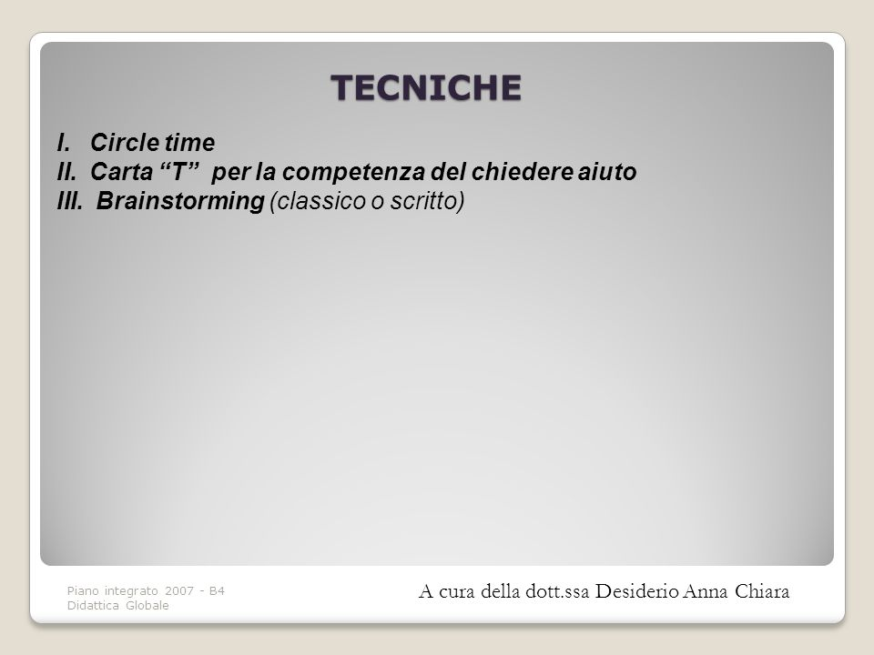 TECNICHE Circle time Carta T per la competenza del chiedere aiuto