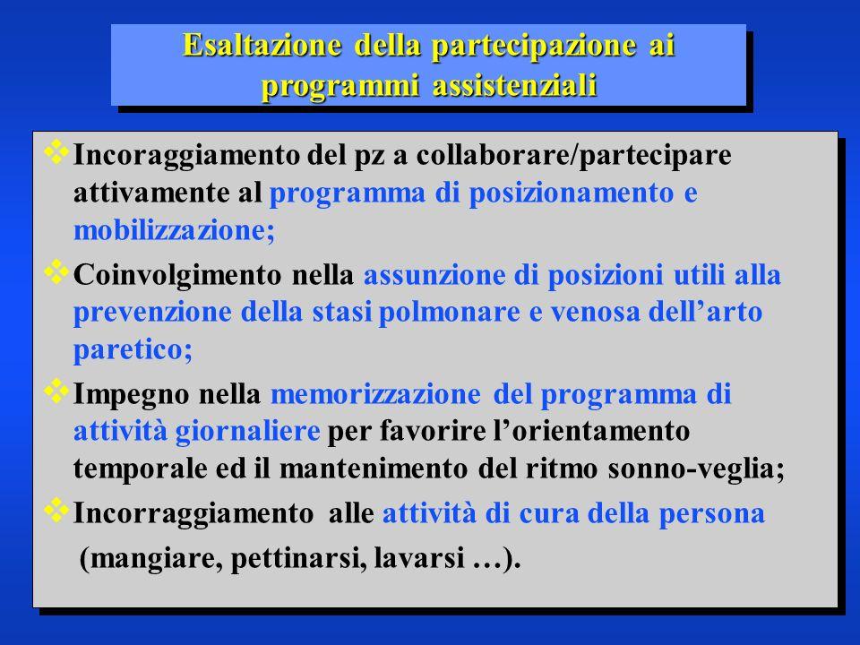 Esaltazione della partecipazione ai programmi assistenziali