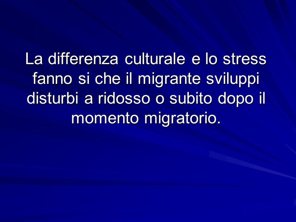 La differenza culturale e lo stress fanno si che il migrante sviluppi disturbi a ridosso o subito dopo il momento migratorio.