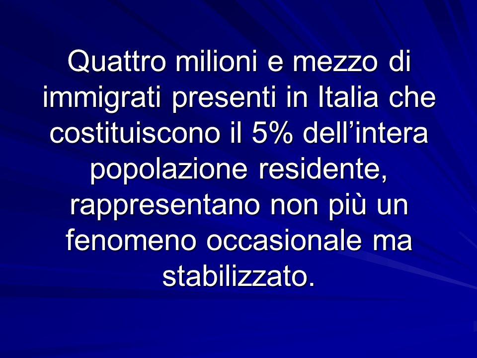 Quattro milioni e mezzo di immigrati presenti in Italia che costituiscono il 5% dell'intera popolazione residente, rappresentano non più un fenomeno occasionale ma stabilizzato.
