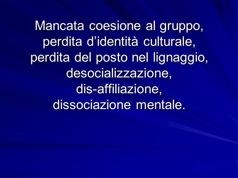 Mancata coesione al gruppo, perdita d'identità culturale, perdita del posto nel lignaggio, desocializzazione, dis-affiliazione, dissociazione mentale.