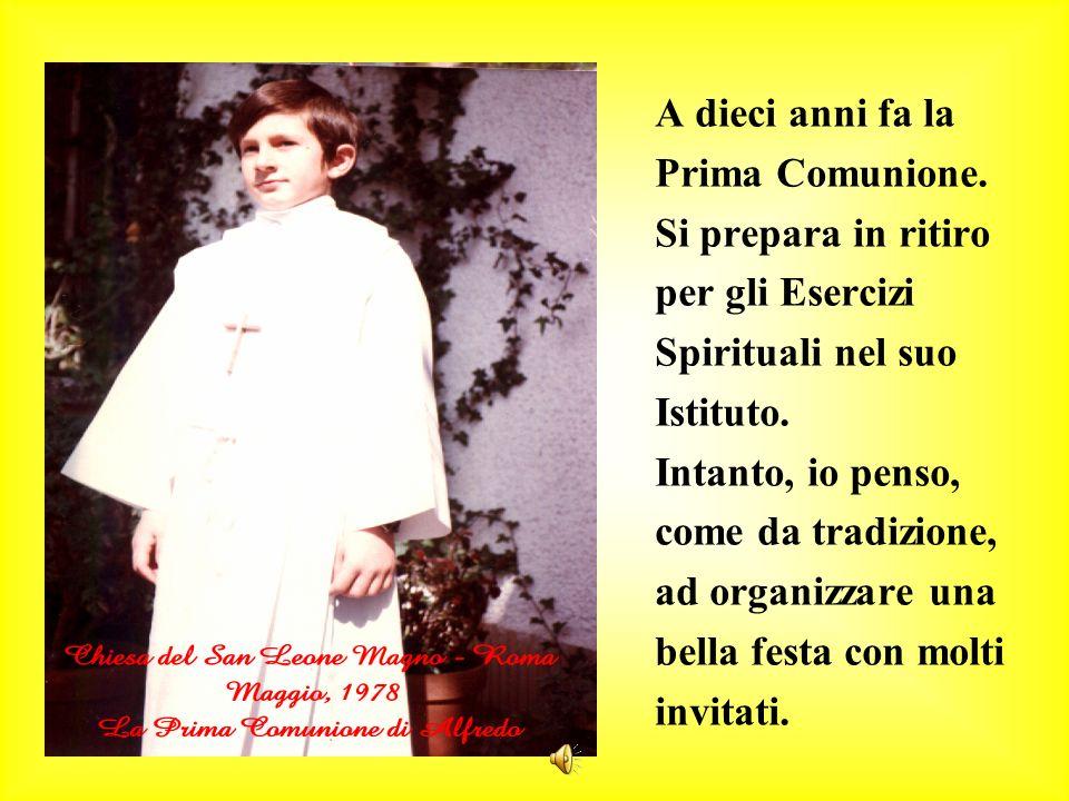 A dieci anni fa la Prima Comunione. Si prepara in ritiro. per gli Esercizi. Spirituali nel suo. Istituto.
