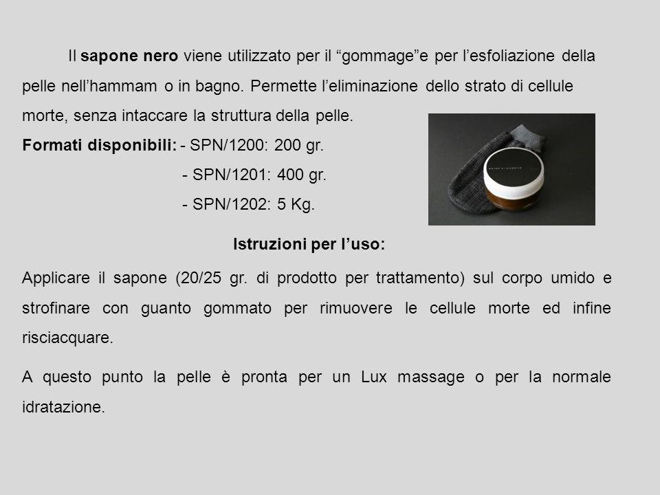 Il sapone nero viene utilizzato per il gommage e per l'esfoliazione della pelle nell'hammam o in bagno. Permette l'eliminazione dello strato di cellule morte, senza intaccare la struttura della pelle.