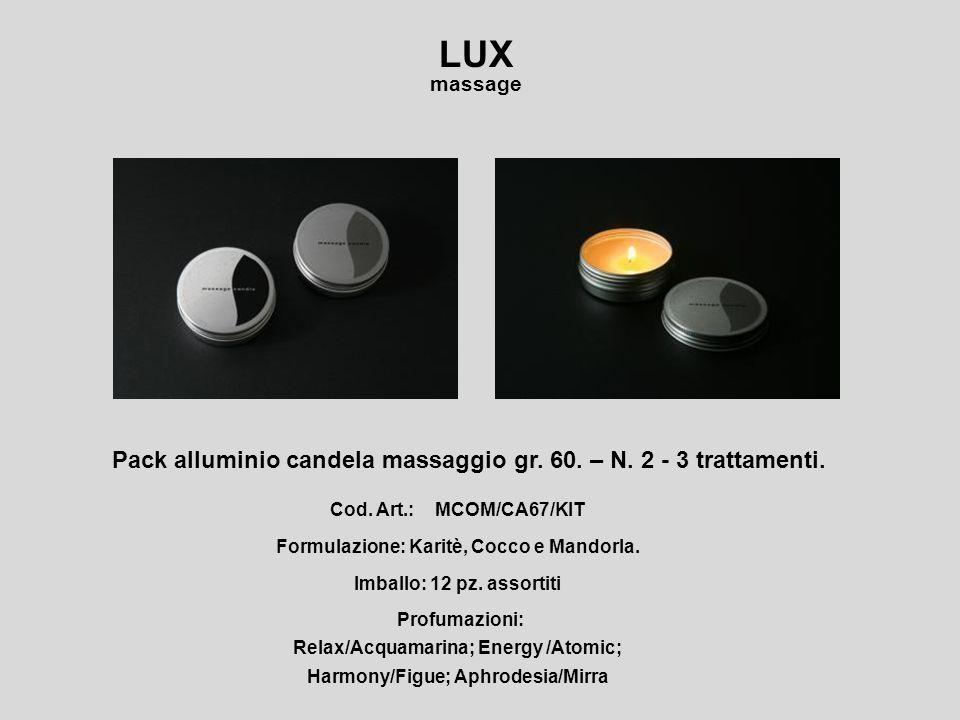 LUX Pack alluminio candela massaggio gr. 60. – N. 2 - 3 trattamenti.