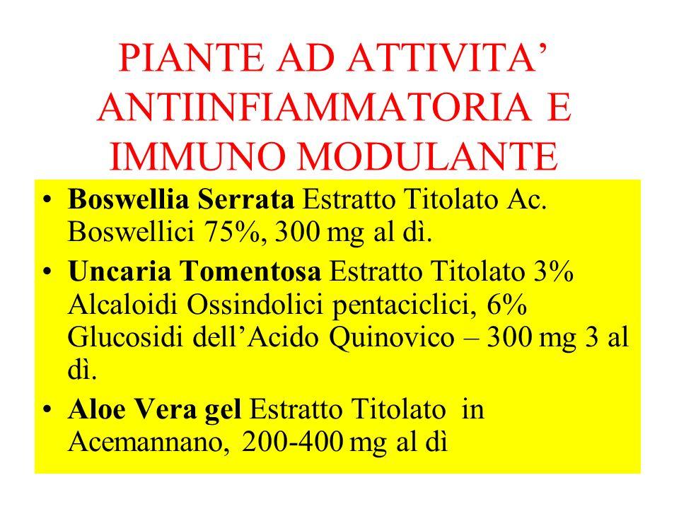 PIANTE AD ATTIVITA' ANTIINFIAMMATORIA E IMMUNO MODULANTE