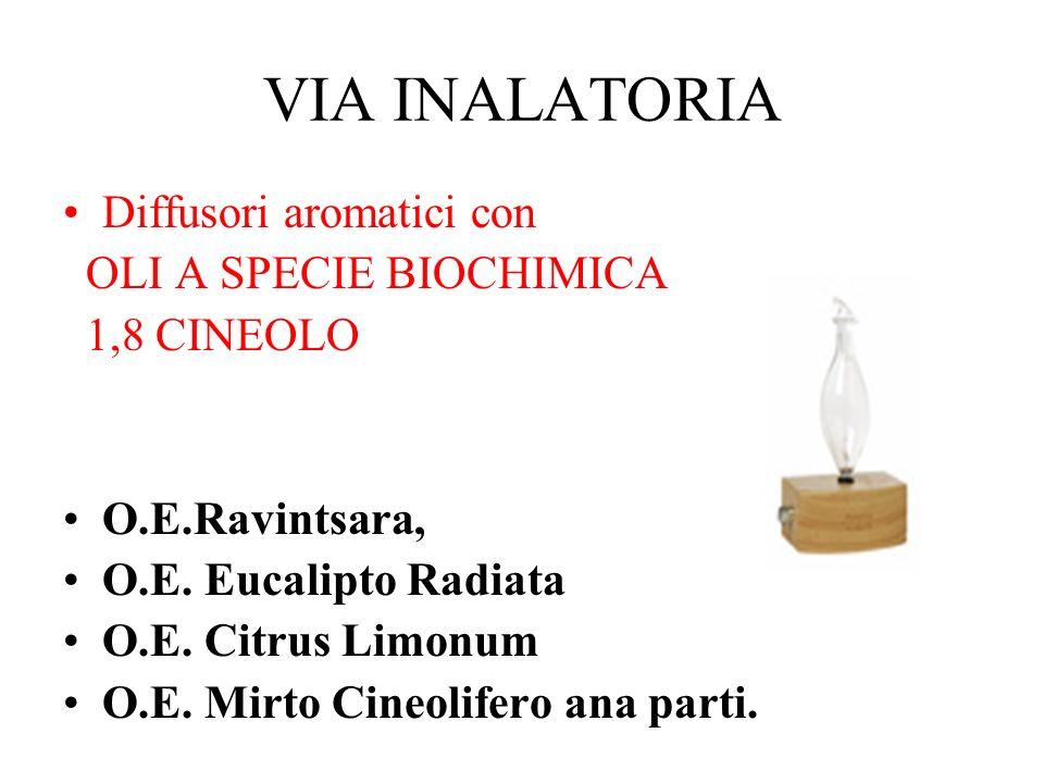 VIA INALATORIA Diffusori aromatici con OLI A SPECIE BIOCHIMICA
