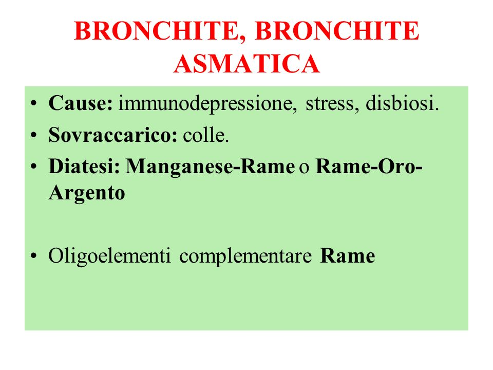 BRONCHITE, BRONCHITE ASMATICA