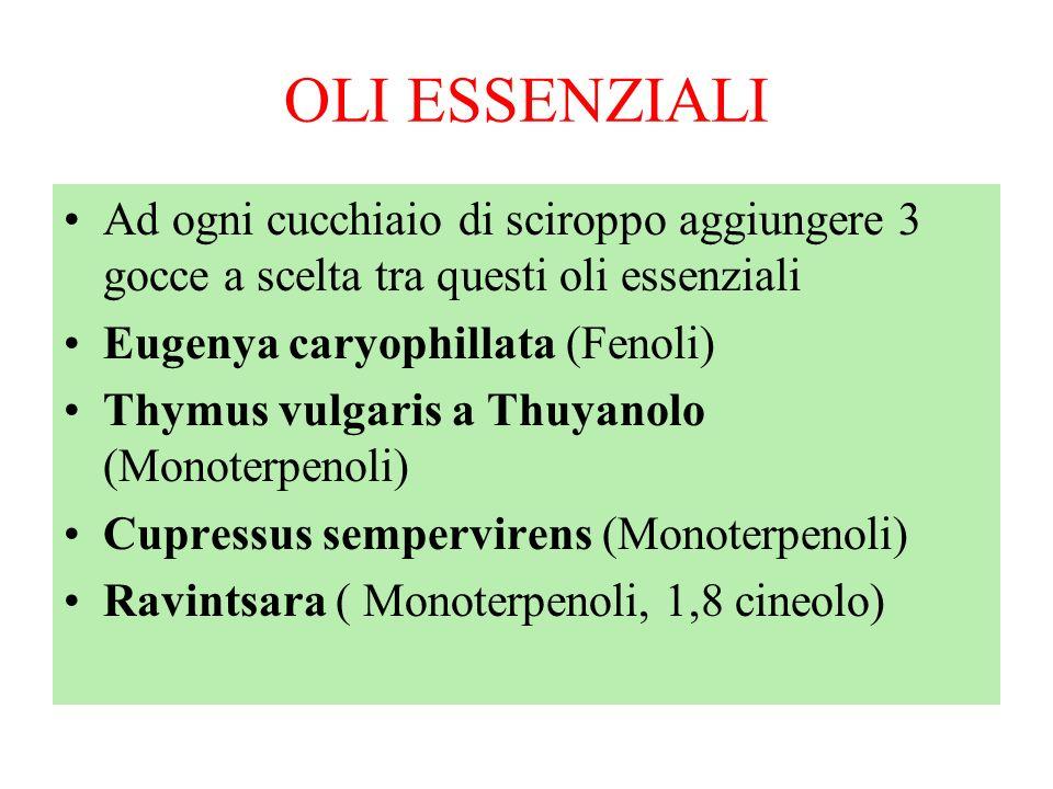 OLI ESSENZIALIAd ogni cucchiaio di sciroppo aggiungere 3 gocce a scelta tra questi oli essenziali. Eugenya caryophillata (Fenoli)